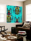Flower Beetle Turquoise Wall Mural by Sharon Turner