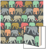 Baby Elephants and Flamingos (Variant 1) Wood Print by Unknown Unknown