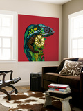 Chameleon Red Wall Mural by Sharon Turner