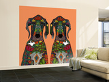 Great Dane Love Tangerine Wall Mural – Large by Sharon Turner