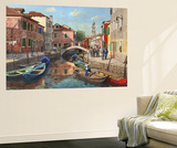 Burano Canal Venice Wall Mural by Richard Harpum