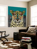 Leopard Queen Teal Wall Mural by Sharon Turner