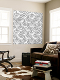 Monochrome Scallop Scales Wall Mural by Sharon Turner