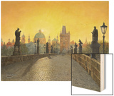 Misty Dawn Charles Bridge Prague Print by Richard Harpum