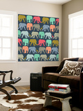 Baby Elephants and Flamingos (Variant 1) Wall Mural by Unknown Unknown