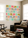 Baby Elephants and Flamingos Wall Mural by Sharon Turner