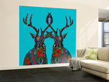 Poinsettia Deer Blue Wall Mural – Large by Sharon Turner