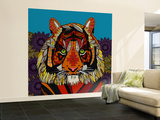 Tiger Chief Blue Wall Mural – Large by Sharon Turner