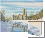 Winter Morning - Fountains Abbey Yorkshire Wood Print by Richard Harpum