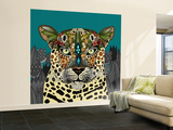 Leopard Queen Teal Wall Mural – Large by Sharon Turner