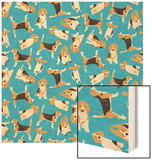 Beagle Scatter (Variant 1) Wood Print by Unknown Unknown