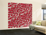 Chinese Animals Red Wall Mural – Large by Sharon Turner