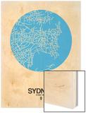 Sydney Street Map Blue Wood Print by  NaxArt