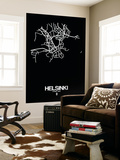 Helsinki Street Map Black Wall Mural by  NaxArt