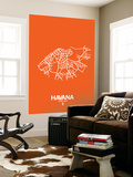Havana Street Map Orange Wall Mural by  NaxArt