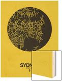Sydney Street Map Yellow Wood Print by  NaxArt