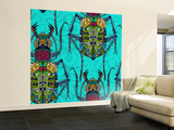 Flower Beetle Turquoise Wall Mural – Large by Sharon Turner