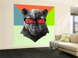 Party Panther in Red Glasses Wall Mural – Large by Lisa Kroll