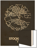 Stockholm Street Map Black Wood Print by  NaxArt