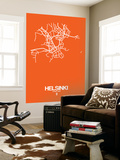 Helsinki Street Map Orange Wall Mural by  NaxArt