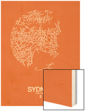 Sydney Street Map Orange Wood Print by  NaxArt