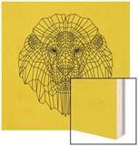 Lion Head Yellow Mesh Wood Print by Lisa Kroll