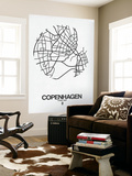 Copenhagen Street Map White Wall Mural by  NaxArt