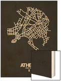 Athens Street Map Black Wood Print by  NaxArt