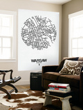 Warsaw Street Map White Wall Mural by  NaxArt