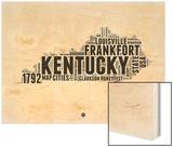 Kentucky Word Cloud 2 Wood Print by  NaxArt