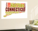Connecticut Word Cloud Map Wall Mural by  NaxArt