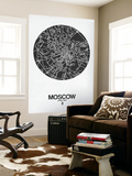 Moscow Street Map Black on White Wall Mural by  NaxArt