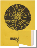 Budapest Street Map Yellow Wood Print by  NaxArt