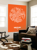 Warsaw Street Map Orange Wall Mural by  NaxArt