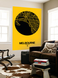 Melbourne Street Map Yellow Vægplakat af  NaxArt