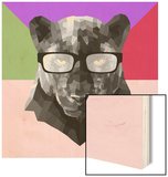 Party Panther in Glasses Wood Sign by Lisa Kroll