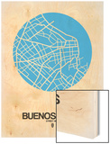 Buenos Aires Street Map Blue Wood Print by  NaxArt