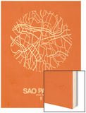 Sao Paulo Street Map Orange Prints by  NaxArt