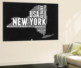 New York Black and White Map Wall Mural by  NaxArt