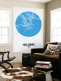Helsinki Street Map Blue Wall Mural by  NaxArt