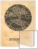 Stockholm Street Map Black on White Wood Print by  NaxArt