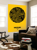 Warsaw Street Map Yellow Wall Mural by  NaxArt