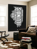 Illinois Black and White Map Wall Mural by  NaxArt