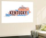Kentucky Word Cloud Map Wall Mural by  NaxArt