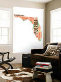 Florida Word Cloud Map Wall Mural by  NaxArt