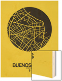 Buenos Aires Street Map Yellow Wood Print by  NaxArt