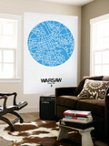 Warsaw Street Map Blue Wall Mural by  NaxArt