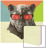 Party Panther in Red Glasses Wood Sign by Lisa Kroll