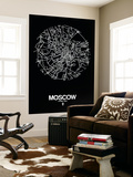 Moscow Street Map Black Wall Mural by  NaxArt