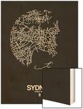 Sydney Street Map Black Wood Print by  NaxArt